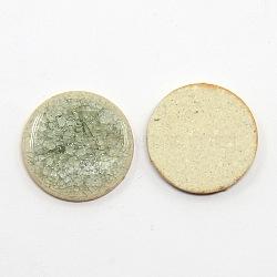 плоские круглые ручной работы хрустят фарфоровые кабошоны, аквамарин, 20x4 mm(X-PORC-P001-0)