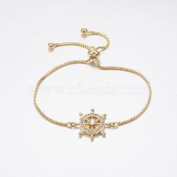 bracelets réglables en laiton à micro-pavé de zircons cubiques, bracelets de slider, avec des chaînes de boîte en laiton, barre, or, 10-1 / 4 (260 mm)(BJEW-F297-37G)