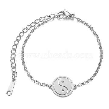 Feng Shui 201 Stainless Steel Link Bracelets, with Cable Chains and Lobster Claw Clasps, Flat Round with YinYang, Stainless Steel Color, 6-3/8 inches~6-7/8 inches(16.3~17.4cm); 1.5mm(STAS-T040-JN014-1)