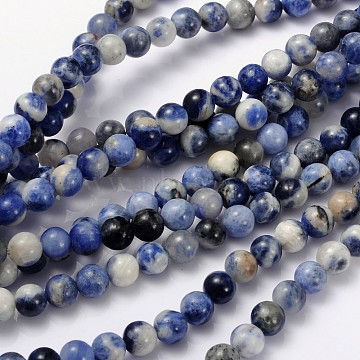Natural Sodalite Beads Strand, Grade AB, Round, 8mm, Hole: 1mm, about 48pcs/strand, 15.1 inches(X-GSR8mmC013)