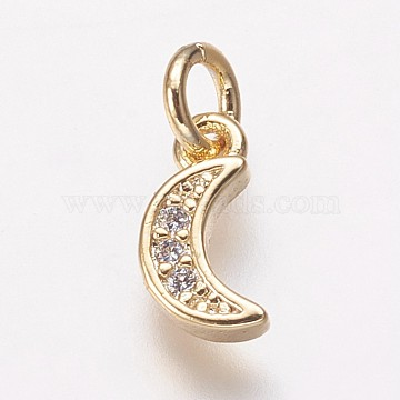 Golden Clear Moon Brass+Cubic Zirconia Charms