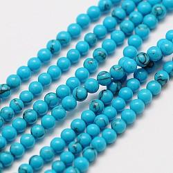 """Chapelets de perle en turquoise chinoise naturelle, rond, 3mm, trou: 0.8mm; environ 121 pcs/chapelet, 15""""(X-G-A130-3mm-L06)"""