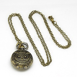 Halloween Jewelry Gifts Alloy Flat Round with Owl Pendant Necklace Quartz Pocket Watch, with Iron Chains and Lobster Claw Clasps, Antique Bronze, 31.1inches; Watch Head: 37x28x13mm(X-WACH-N011-40)