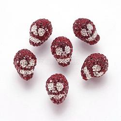 Ближний Восток шариков Rhinestone, полиэфирной смолой, череп, 208 _siam, 18x12x19 мм, отверстие : 1 мм(SWARJ-Q030)