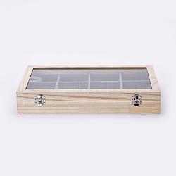 Wooden Bracelet Presentation Boxes, with Glass, 12 Grids Bracelet/Bangle Display Boxes with Transparent Lid, Rectangle, AntiqueWhite, 35x24x5.5cm(ODIS-P006-11)
