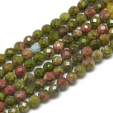 3mm Round Unakite Beads