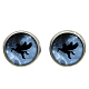 Picture Glass Stud Earrings(EJEW-O088-64)-1