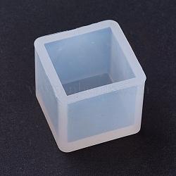 Moules en silicone, moules de résine, pour la résine UV, fabrication de bijoux en résine époxy, cube, clair, 25x25x23 mm; intérieur: 20x20 mm(DIY-L005-02-20mm)