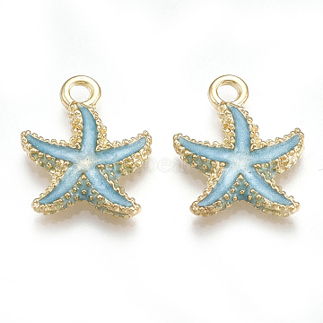 Alloy Enamel Pendants, Starfish/Sea Stars, Light Gold, Sky Blue, 17.5x14.5x2.5mm, Hole: 2mm (X-PALLOY-T056-08A)