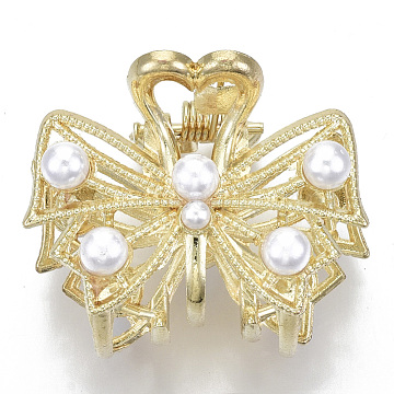 Alloy Claw Hair Clips, with ABS Plastic Imitation Pearl, Long-Lasting Plated, Textured, Bowknot with Heart, Light Gold, White, 28x35x28mm(PHAR-N004-006)