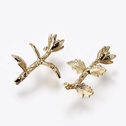 pendentifs en laiton, pour la moitié de perles percées, sans nickel, plaqué longue durée, fleur, véritable plaqué or, 20.5x14x7 mm, trou: 1 mm; broches: 0.8 mm(KK-E768-24G)