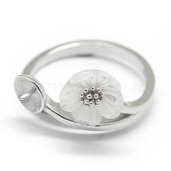 925 фунт стерлингового серебра, за половину пробурено бисера, с кубического циркония, цветок, платина, Размер 7, 17 мм; цветок: 8x8 мм, лоток : 4.5 мм, штифты : 0.7~1 мм(STER-P042-05P)