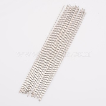 Steel Beading Needles, about 0.7mm thick, 121mm long, approx 25~30pcs/bag(X-ES011Y)