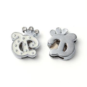 Alloy Enamel Rhinestone Slide Charms, Letter, Platinum Metal Color, Letter.G, White, 15x13x4mm, Hole: 1x8mm(X-ENAM-A126P-G01)