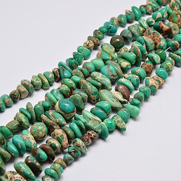 Natural Imperial Jasper Beads Strands, Chips, Dyed, Light Sea Green, 8~16x4~10mm, Hole: 1mm, about 15.7 inches(G-I123-05C)