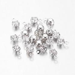 pendentifs ronds plats en laiton plaqué platine strass moyen-orient, effacer, 6.5x4x3.5 mm, trou: 1 mm(X-RB-6.5x4x3.5-01N)