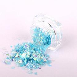 Flocons de coquille de couleur bonbon, manucure nail art décoration, paillettes pour ongles, bleu foncé, 3x1.5 cm(MRMJ-L001-27E)