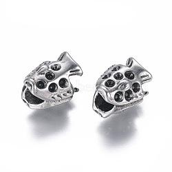 304 paramètres strass perle européenne en acier inoxydable, Perles avec un grand trou   , poisson, argent antique, 12x10.5x9.5mm, trou: 4.5 mm; apte à 2 mm strass(STAS-I120-85AS)