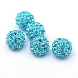 Polymer Clay Pave Rhinestone Beads, Disco Ball Beads, Aquamarine, PP15(2.1~2.2mm), 6 Rows Rhinestone; 12mm, Hole: 1.5mm(RB-Q197-12mm-12)