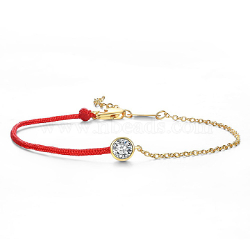Environmental Electroplate Brass and Nylon Cord Bracelets, with Grade AAA Cubic Zirconia, Golden, 6-3/4inches(170mm)(BJEW-AA00081-30G)