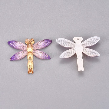 Plastic Pendants, Dragonfly, Colorful, 26.5x31.5x4.5mm, Hole: 1.2mm(KY-TAC0005-03G)