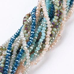 Chapelets de perles en verre d'imitation jade électrolytique, à moitié plein et plaqué, facette, rondelle, couleur mixte, 2.5x2mm, trou: 1 mm; environ 190~195 pcs / brins, 17.5 pouces