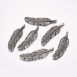 Пластмассовые подвески ccb, перо, античное серебро, 42x11x3.5 мм, отверстие : 1 мм(CCB-F006-62AS)