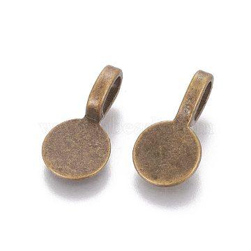 Tibetan Style Alloy Glue On Flat Pad Pendant Bails, Flat Round, Lead Free & Nickel Free, Antique Bronze, 18x10x5.5mm, Hole: 6x3.5mm(X-TIBEP-1124-AB-FF)