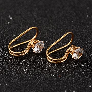 304 Stainless Steel Rhinestone Cuff Earrings, Golden, 19x8x12mm(X-EJEW-M055-01G)