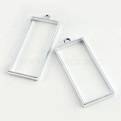 Enjoliveur en alliage en alliage rectangle en caoutchouc ouvert, pour diy uv résine, une résine époxy, Bijoux à fleurs pressées, creux, sans plomb et sans nickel, argent, 49x20x3.5 mm, trou: 3 mm(X-PALLOY-S047-11D-FF)
