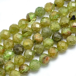 """Chapelets de perles en péridot naturel, rond, facette, 5mm, trou: 0.8mm; environ 75 pcs/chapelet, 15.7"""" (40 cm)(G-O171-15-5mm)"""