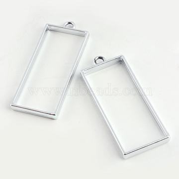Rack Plating Alloy Rectangle Open Back Bezel Pendants, For DIY UV Resin, Epoxy Resin, Pressed Flower Jewelry, Cadmium Free & Nickel Free & Lead Free, Platinum, 49x20x3.5mm, Hole: 3mm(X-PALLOY-S047-11D-FF)