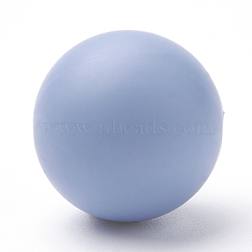 Food Grade Environmental Silicone Beads, Chewing Beads For Teethers, DIY Nursing Necklaces Making, Round, Light Steel Blue, 12mm, Hole: 2mm(X-SIL-R008B-52)