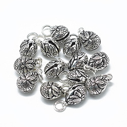 Thai 925 Sterling Silver Bell Charms, with Jump Ring, Teardrop with Lotus, Antique Silver, 15x9x9mm, Hole: 4mm(STER-T002-11AS)