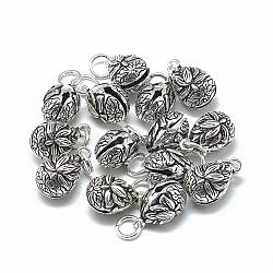Breloque de cloche en 925 argent sterling thaïlandais, avec anneau de jonction, tomber avec lotus, argent antique, 15x9x9mm, Trou: 4mm(STER-T002-11AS)