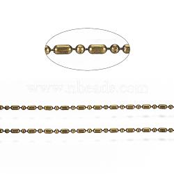 chaînes à billes en laiton, chaînes de perles à facettes boule et barre, plaqué longue durée, soudé, avec bobine, sans cadmium et sans nickel et sans plomb, bronze antique, 1.8x1 mm et 1 mm(X-CHC-S008-010F-AB)