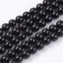 Natural Agate Beads Strands, Grade AB, Round, Dyed & Heated, Black, 6mm, Hole: 0.8mm; about 65pcs/strand, 15.5inches
