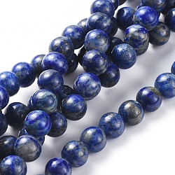 Natural Lapis Lazuli Round Beads Strands, 8mm, Hole: 1mm; about 48pcs/strand, 15.5inches