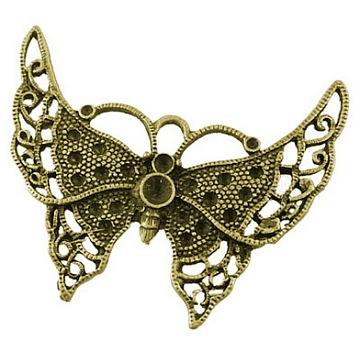Tibetan Style Big Butterfly Pendant Rhinestone Settings, Antique Bronze, Lead Free & Cadmium Free, 55x43x2mm, Hole: 6mm(X-TIBEP-EA672YKG-AB-LF)