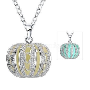 Zinc Alloy Hollow Pumpkin Luminous Noctilucent Necklaces, with Cable Chains, Cyan, Silver Color Plated, 18.11 inches(46cm)(NJEW-BB09919-B)