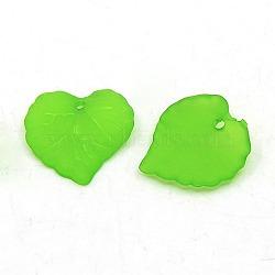 Vert transparent pendentifs acrylique feuille d'dépoli, teint, longueur d'environ 16 mm ,  largeur de 15 mm, épaisseur de 2mm, Trou: 1.2mm(X-PL591-6)