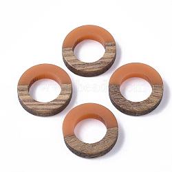 Anneaux de liaison en résine et bois, anneau, corail, 18x4mm(RESI-S358-21C)