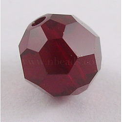 Austrian Crystal Beads, 8mm Faceted Round, Dark Red, hole: 1mm(X-5000_8mm208)