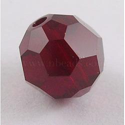 perles de cristal autrichien, 8 mm ronde à facettes, rouge foncé, trou: 1 mm(X-5000_8mm208)