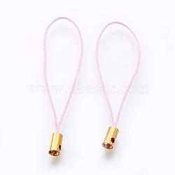 Нейлоновый шнур мобильные ремни, с фурнитурой латунной золотого тона, розовые, 50x4 мм; отверстие: 1.8 мм(MOBA-F005-03G-19)