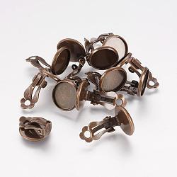 Bagues d'oreilles unies en laiton, Accessoires de bijoux, sans nickel, couleur de bronze antique, 16x14mm(X-KK-I007-AB-NF)
