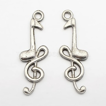 Tibetan Style Alloy Pendants, Musical Note, Lead Free and Cadmium Free, Antique Silver, 32x11x3.5mm, Hole: 2mm(X-LF1932Y)