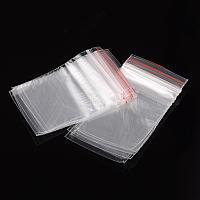 Sacs en plastique à fermeture éclair, sacs d'emballage refermables, joint haut, rectangle, clair, 6x4 cm; épaisseur unilatérale: 0.04 mm