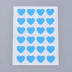 Autocollants en papier kraft, étiquettes autocollantes jet d'encre, cœur, bleu foncé, 120x88mm; coeur: 14x16mm; environ 24pcs / feuille, 12TIRAGES / sac(AJEW-WH0077-01E)