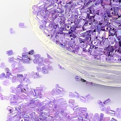 11/0 Two Cut Glass Seed Beads, Hexagon, Trans.Inside Colours Rainbow Round, Purple, Size: about 2.2mm in diameter, about 37500pcs/Pound(CSDB213)